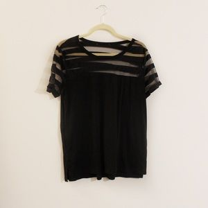 Black T-Shirt with Sheer Paneling